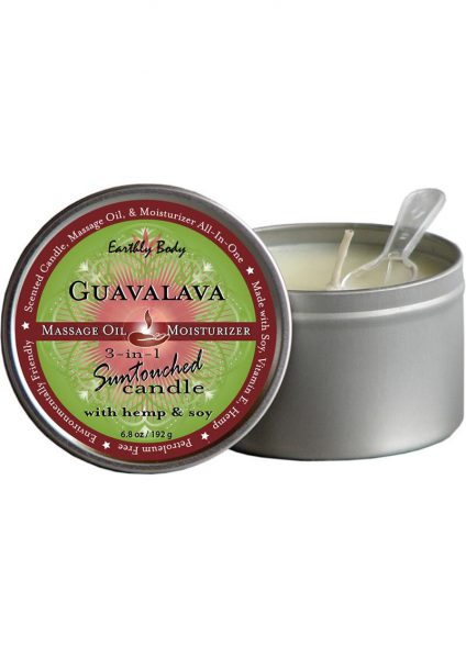 3 In 1 Suntouched Round Massage Oil Candle Guavalava 6.8 Ounce
