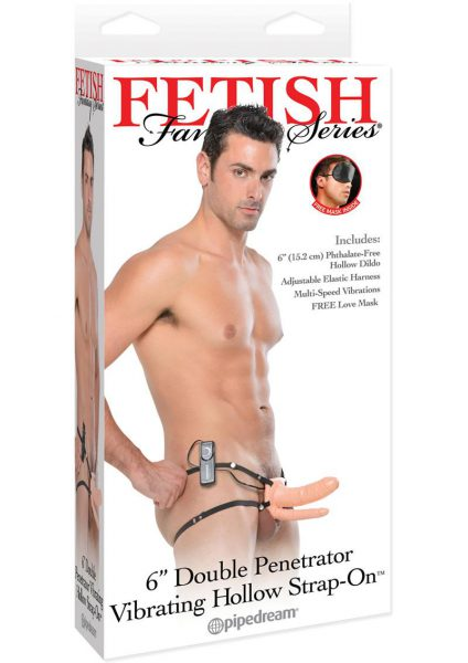 Fetish Fantasy Double Penetrator Vibrating Hollow Strap On Flesh 6 Inches