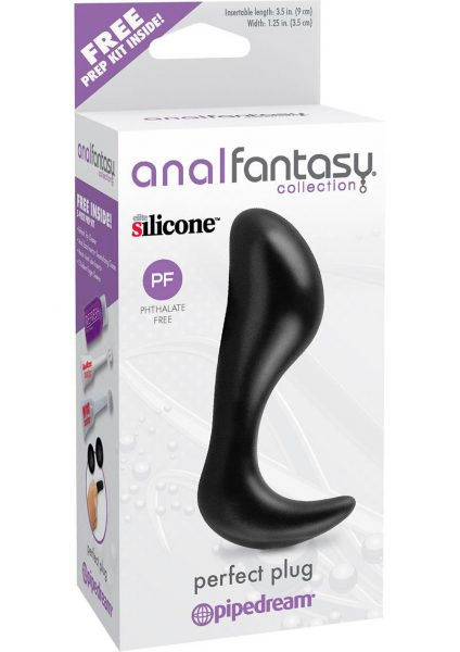 Anal Fantasy Collection Perfect Silicone Plug Black 3.5 Inch