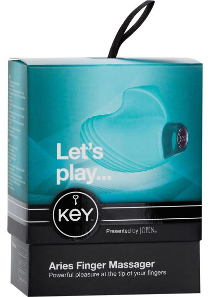 Key Aries Silicone Finger Massager Waterproof Robin Egg Blue 2.25 Inch