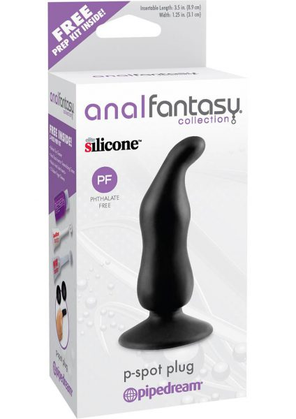 Anal Fantasy Collection Silicone P-Spot Plug Black 3.5 Inch