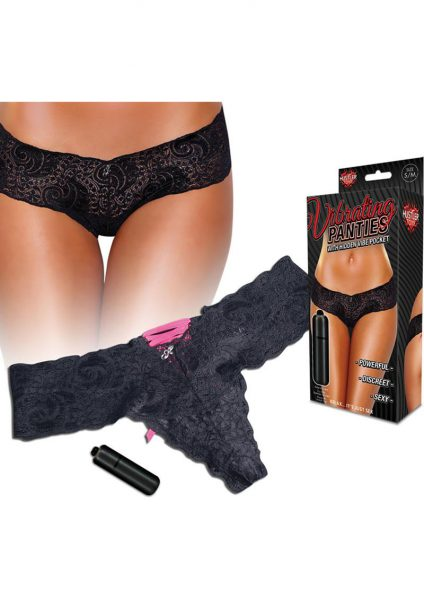 Hustler Toys Vibrating Panties Lace Up Back Thong With Hidden Vibe Pocket Black Medium/Large