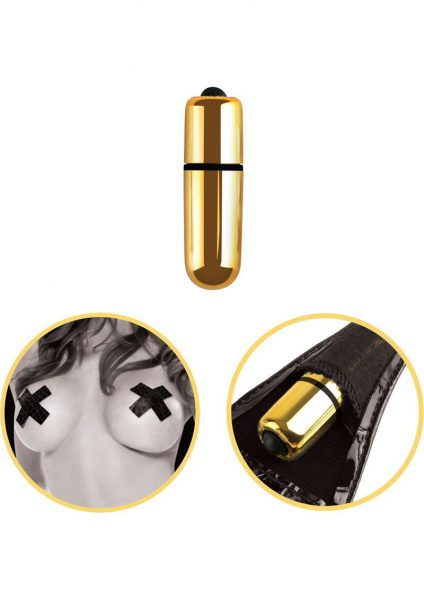 Fetish Fantasy Gold Vibrating Micro G String Set With Pasties Gold And Black