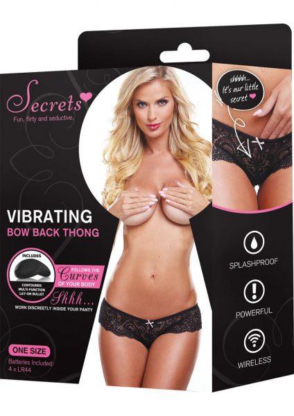 Secrets Vibrating Bow Back Thong Black