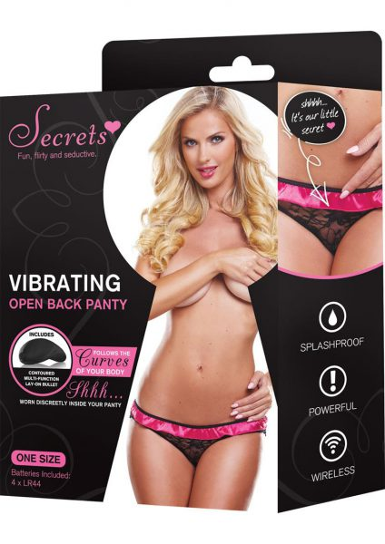 Secrets Vibrating Open Back Panty Black and Pink