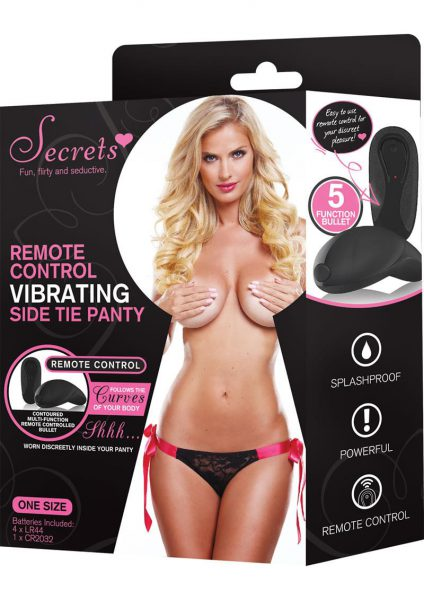 Secrets Remote Side Tie Panty Black and Pink