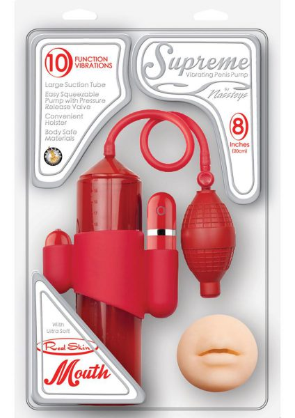 Supreme Vibrating Penis Pump With Mouth Masturbator Red 8 Inch Cylinder