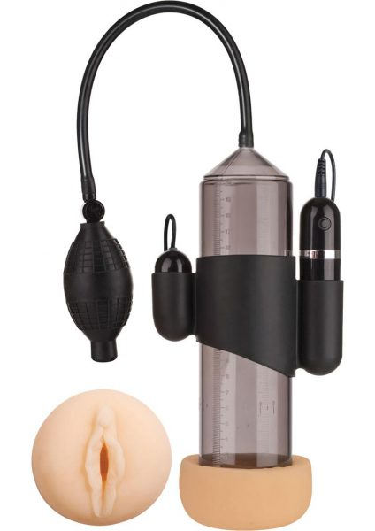 Supreme Vibrating Penis Pump With Vagina Masturbator Black 8 Inch Cylinder