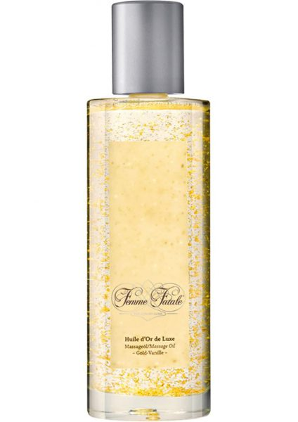 Femme Fatale Huile D'or De Luxe Massage Oil With Pure Gold Shavings Vanilla 3.4 Ounce