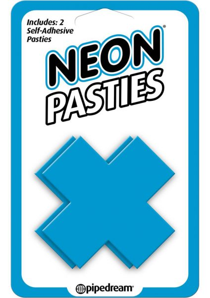 Neon Pasties X Shaped Self Adhesive Blue 2 Each Per Pack
