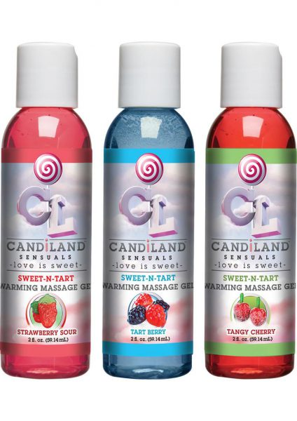 Candiland Sensuals Sweet N Tart Warming Massage Gel Set 3 Each 2 Ounce Bottle Per Set