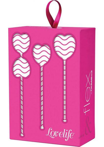 Lovelife Flex Kegel Weights Set Silicone Pink 3 Each Per Set