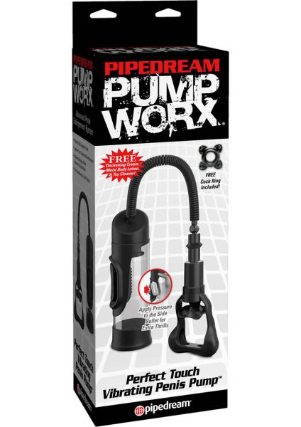 Pump Worx Perfect Touch Vibrating Penis Pump Black