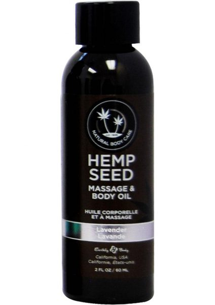 Earthly Body Hemp Seed Lavender Massage and Body Oil 2 Ounces