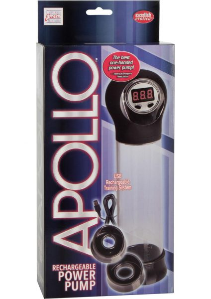 Apollo Rechargeable Power Penis Pump Clear 7.75 Inch