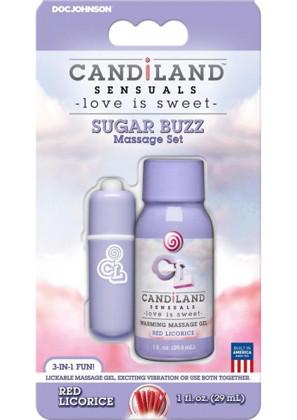 Candiland Sugar Buzz Massage Set Waterproof Bullet Red Licorice