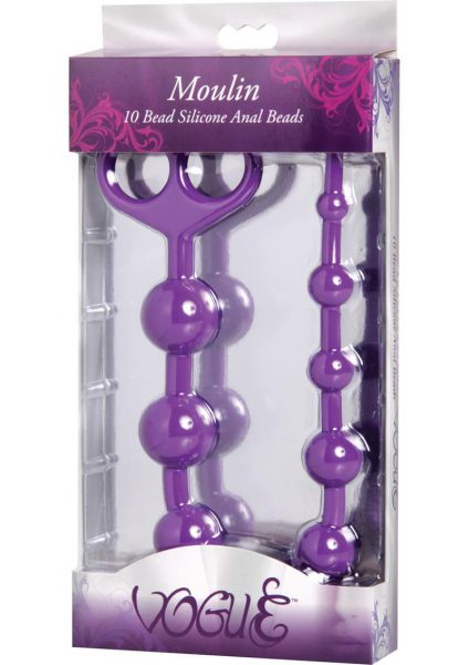 Vogue Moulin 10 Bead Silicone Anal Beads Purple 13.5 Inch