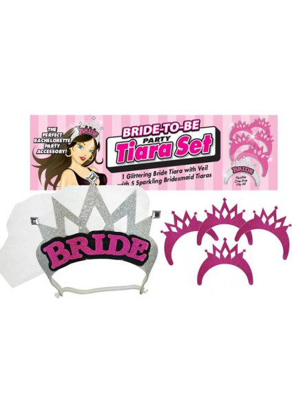Bride To Be Party Tiara Set Silver And Pink And Black Set Of 6