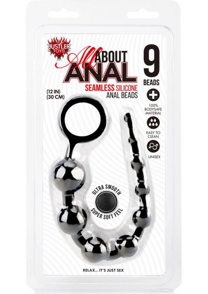 Hustler Silicone Anal Beads 9 Balls Black 12 Inch