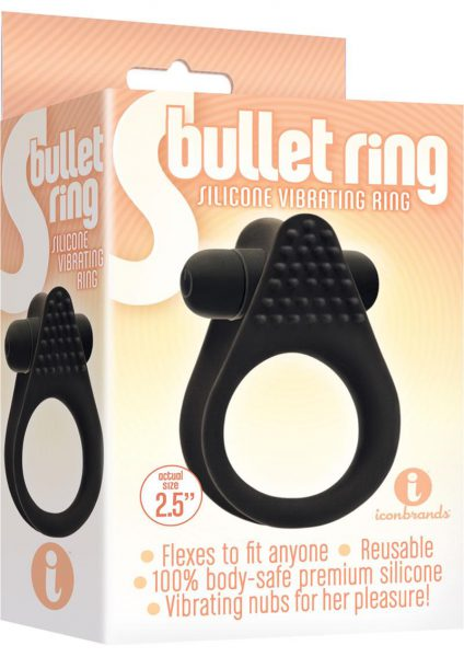 Bullet Ring Silicone Vibrating Ring Black