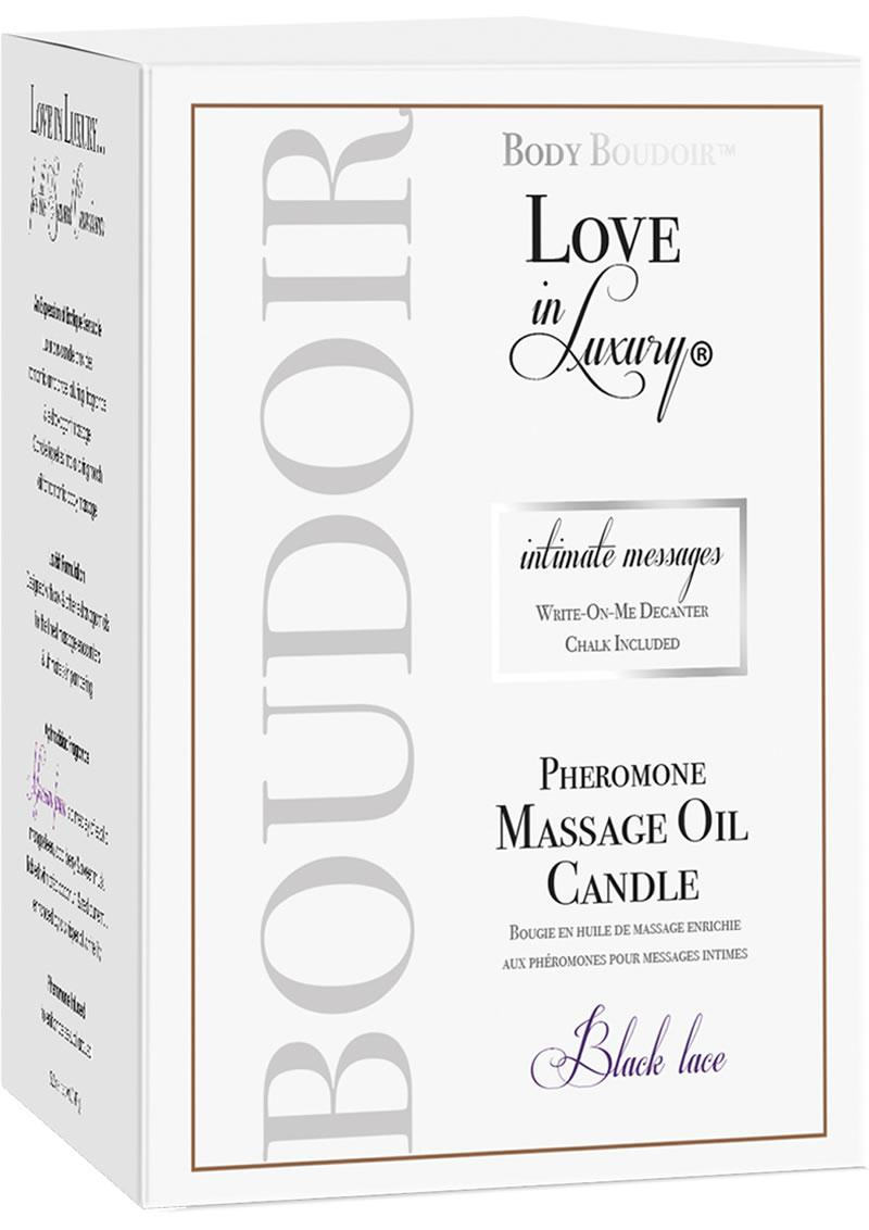 Body Boudoir Love In Luxury Intimate Messages Pheromone Massage Oil Candle Black Lace