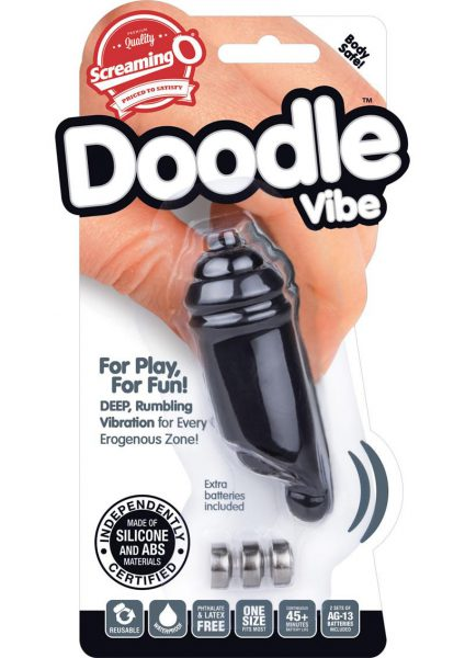 Screaming O Doodle Vibe Silicone Mini Vibe Waterproof Black