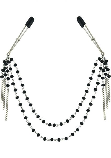 Midnight Black Jeweled Nipple Clips 16.5 Inch
