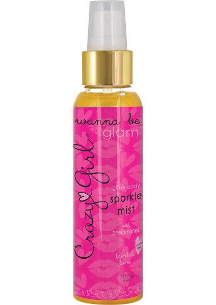 Crazy Girl Wanna Be Glam Glitzy Body Sparkel Mist With Pheromones Tainted Love Gold 4 Ounce