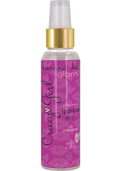 Crazy Girl Wanna Be Glam Glitzy Body Sparkel Mist With Pheromones Such A Flirt Silver 4 Ounce
