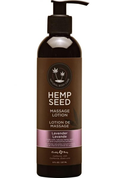 Hemp Seed Massage Lotion 100% Vegan Lavender 8 Ounce
