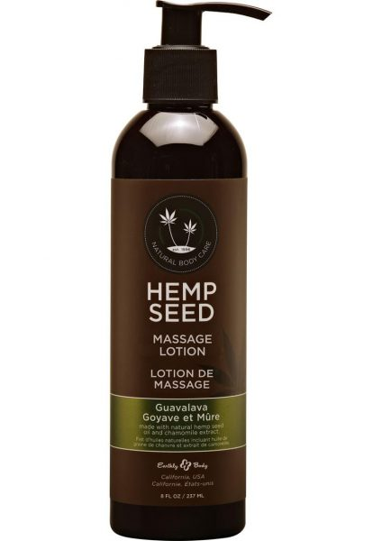 Hemp Seed Massage Lotion 100% Vegan Guavalava 8 Ounce