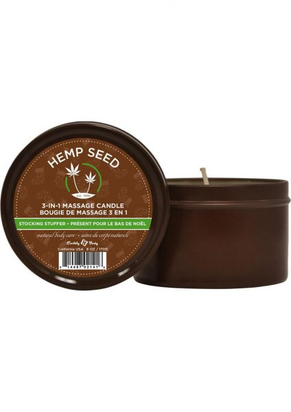 Hemp Seed 3 In 1 Massage Candle 100% Vegan Stocking Stuffer 6 Ounce
