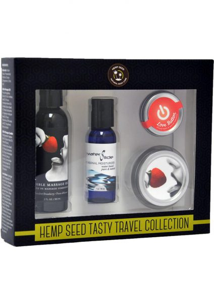 Hemp Seed Tasty Travel Flavored Body Set 100% Vegan Strawberry