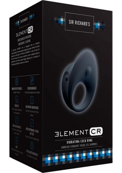 Sir Richard's Element CR Vibrating Silicone Cock Ring Waterproof Slate
