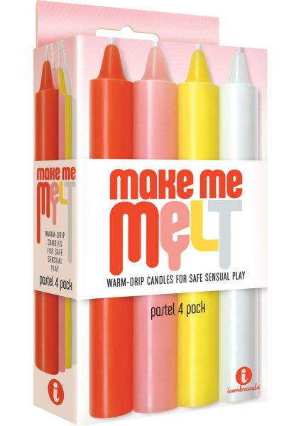 The 9's Make Me Melt Warm Drip Candles Assorted Pastel Colors 4 Each Per Pack