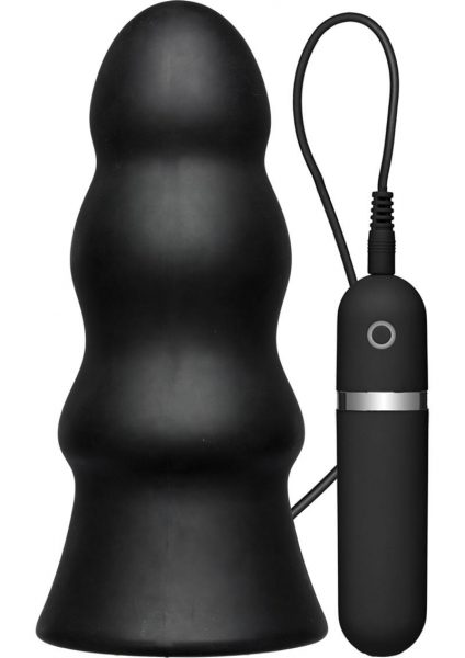 Kink Vibrating Silicone Butt Plug Rippled Black 7.5 Inch
