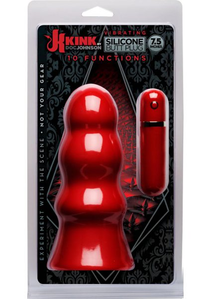 Kink Vibrating Silicone Butt Plug Rippled Red 7.5 Inch