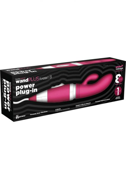 Bodywand Wand Plus Rabbit 8 Power Plug-In Vibe Silicone Pink