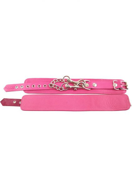 Rouge Plain Leather Ankle Cuffs Pink