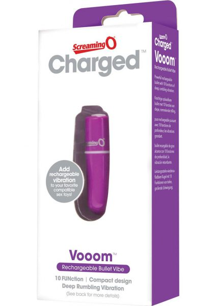 Charged Vooom Rechargeable Bullet Vibe Waterproof Purple