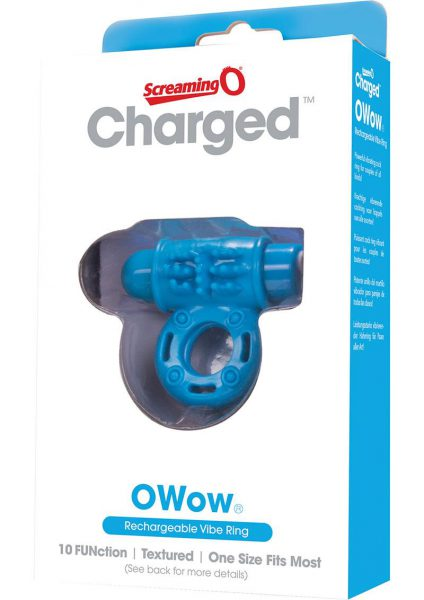 Charged OWow Rechargeable Vibe Ring Waterproof Blue
