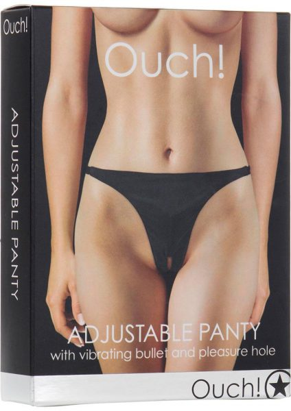 Ouch Adjustable Vibrating Panty With Bullet And Pleasure Hole Waterproof Black