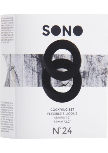 Sono No 24 Silicone Cockring Set Black 2 Assorted Sizes Per Box