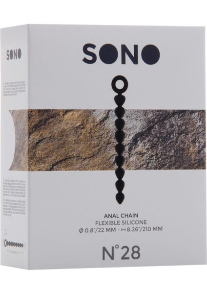 Sono No 28 Silicone Anal Chain Waterproof Black