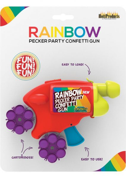Rainbow Pecker Confetti Gun With 2 Multicolor Confetti Cartridges