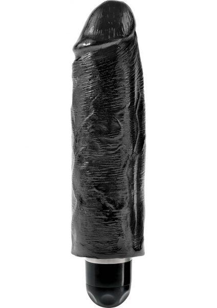 King Cock Vibrating Stiffy Realistic Dildo Waterproof Black 6 Inch