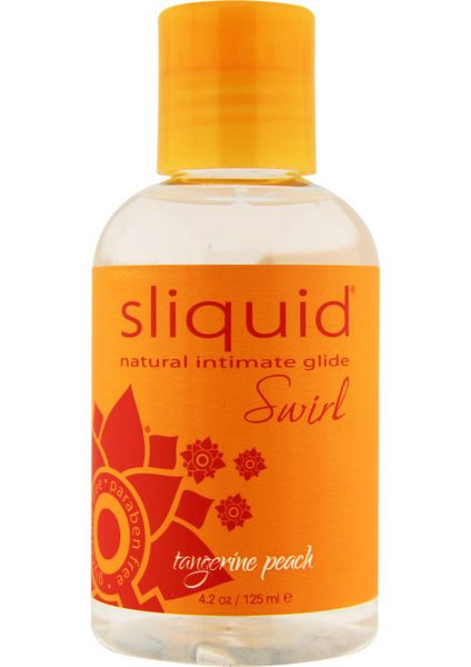 Sliquid Natural Intimate Glide Swirl Water Based Flavored Lube Tangerine Peach 4.2 Ounce