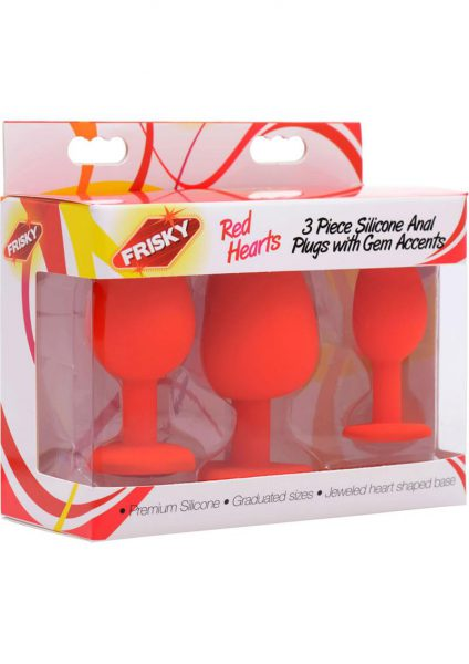 Frisky Red Hearts 3 Piece Silicone Anal Plugs With Gem Accents