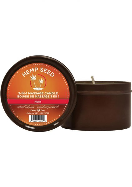 Hemp Seed 3 In 1 Massage Candle 100% Vegan Heat 6 Ounce