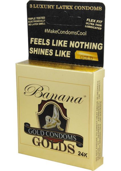 Banana Golds Latex Condoms 3 Each Per Pack